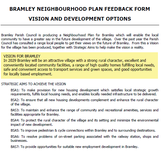 Bramley Neighbourhood Development Plan Survey